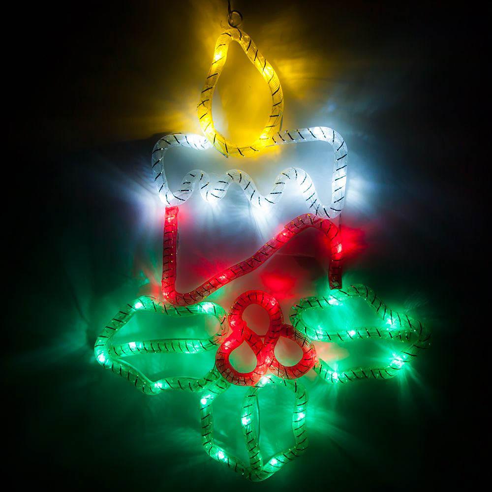 {}  Световая фигура Свеча На Ветке (31х41 см) световая фигура снеговички 37х45 см