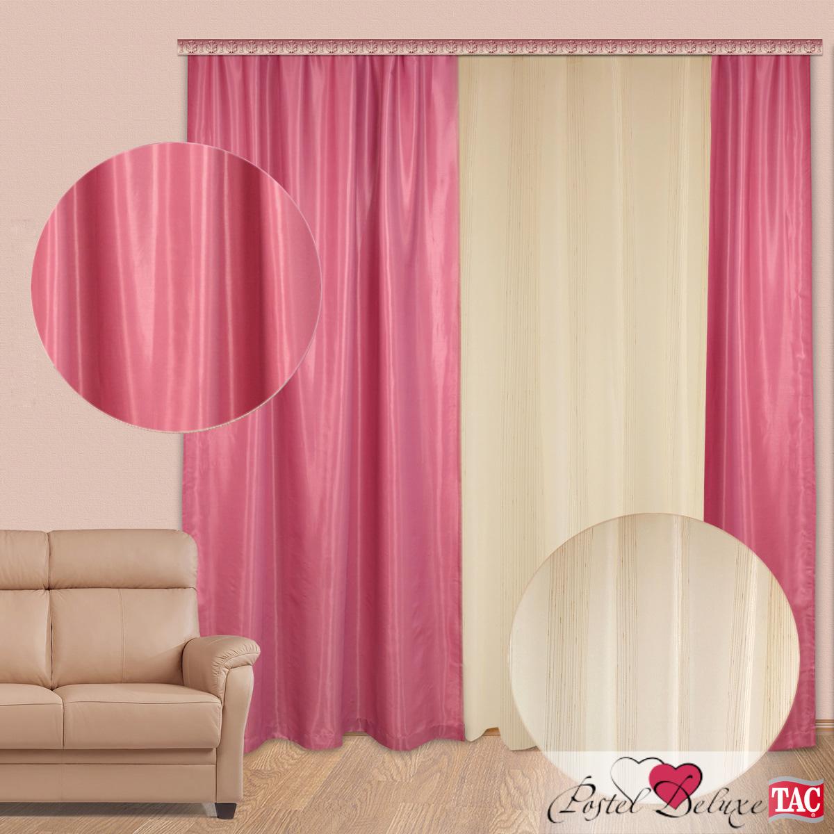 Шторы TAC Классические шторы Глянец Цвет портьер: Розовый, Цвет тюля: Белый с бежевой полоской шторы tac классические шторы winx цвет персиковый 200x265 см