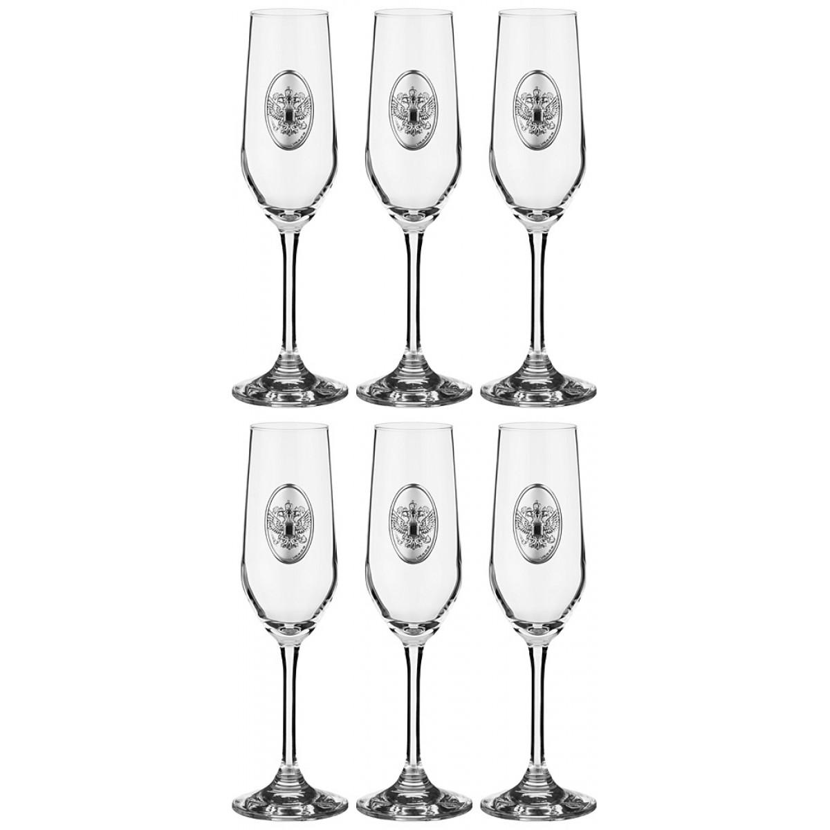 набор бокалов bistro д шампанского 2шт 275мл стекло {} Cristalleria Acampora Набор бокалов для шампанского Jaimee  (23 см - 6 шт)