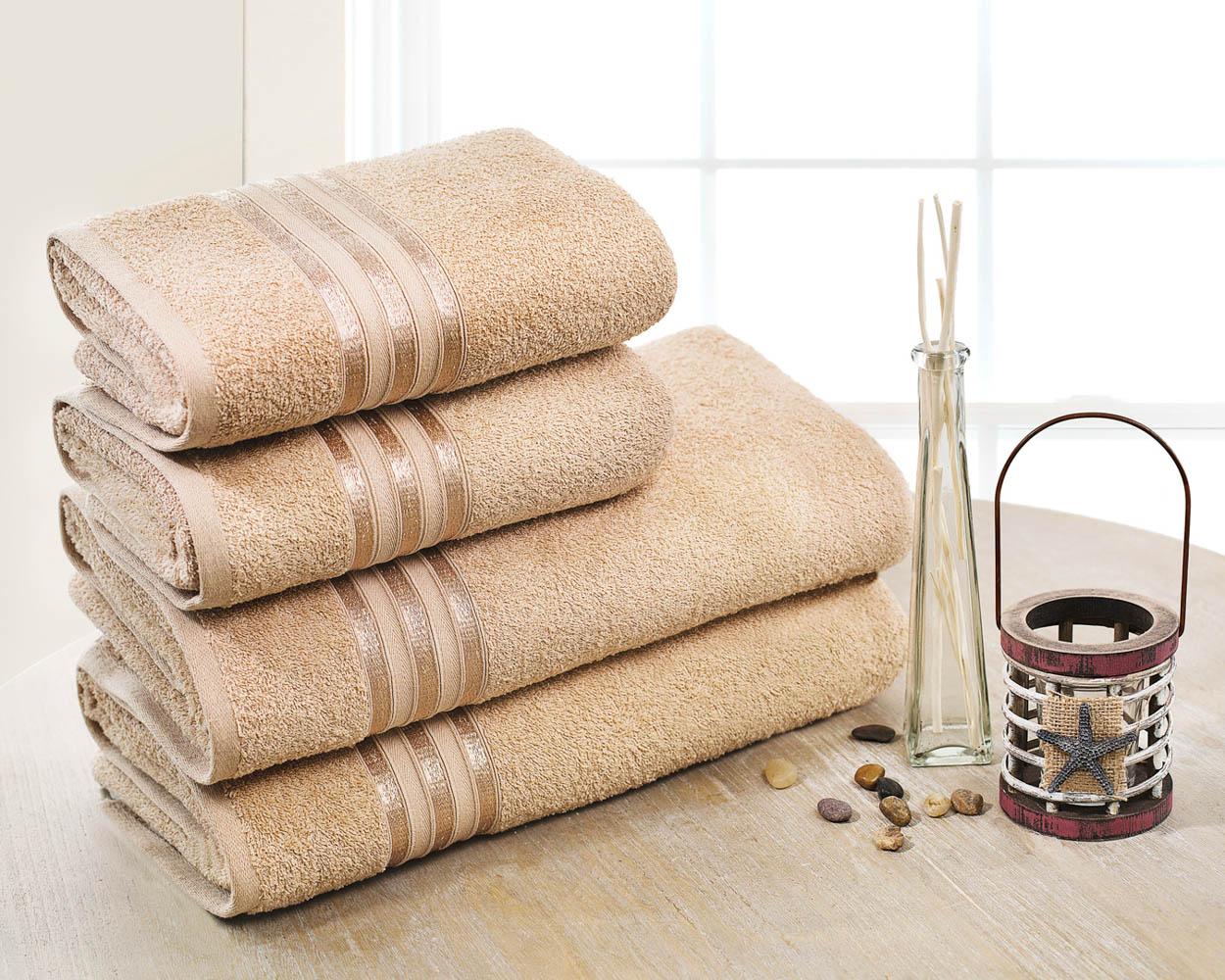 Полотенца Dome Набор из 4 полотенец Harmonika Цвет: Бежевый полотенца кухонные la pastel набор полотенец 4 предмета из микрофибры 30х30