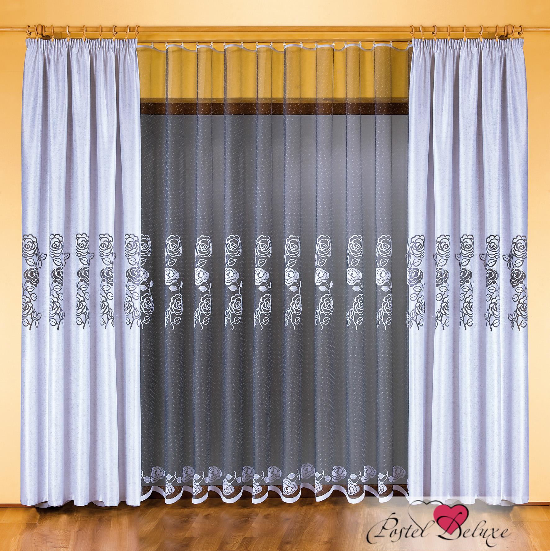Шторы Wisan Классические шторы Roze Цвет гардины: Черный, Цвет портьер: Бело-Стальной wisan wisan классические шторы noele