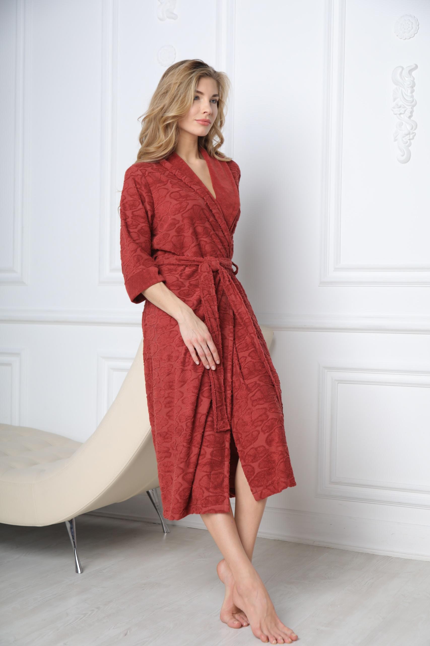 Сауны, бани и оборудование Five Wien Халат Bella Цвет: Марсала (xxxxL) купить шелковый халат мужской спб
