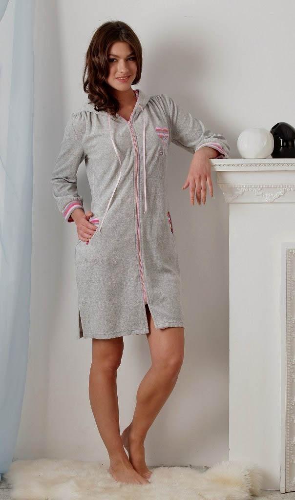Домашние халаты EvaTeks Домашний халат Melville Цвет: Серый С Розовым (L) халаты домашние лори халат