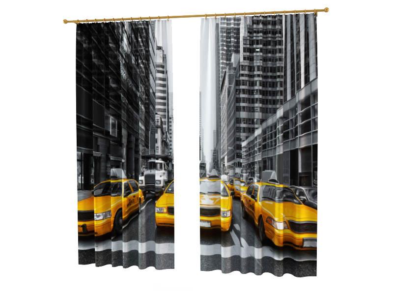 Шторы StickButik Фотошторы Такси Нью Йорка фотошторы magic lady плотные фотошторы жёлтое такси в нью йорке оранжевый вечер облака в голубом небе 290x265 см