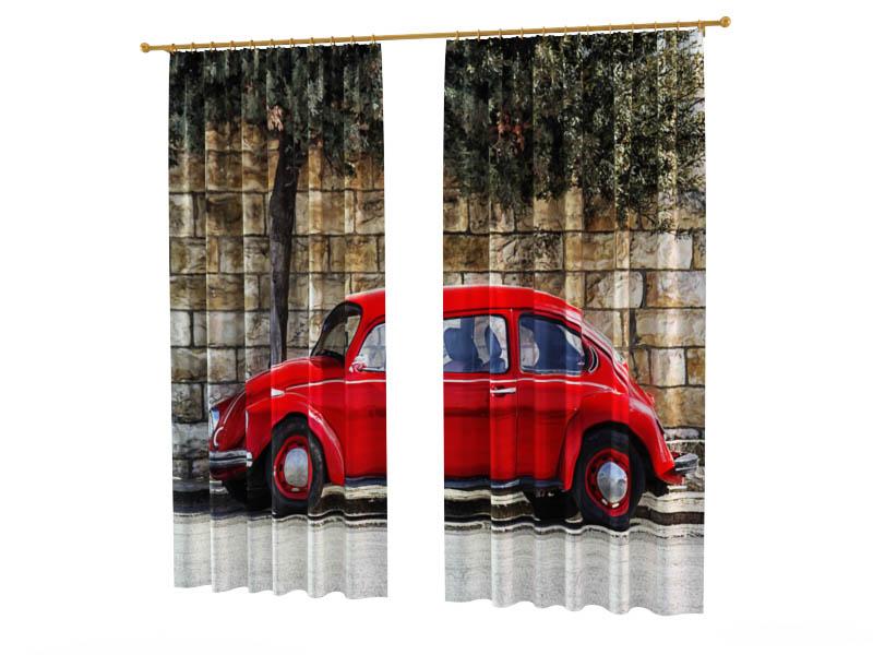 Шторы StickButik Фотошторы Маленькое Красное Авто