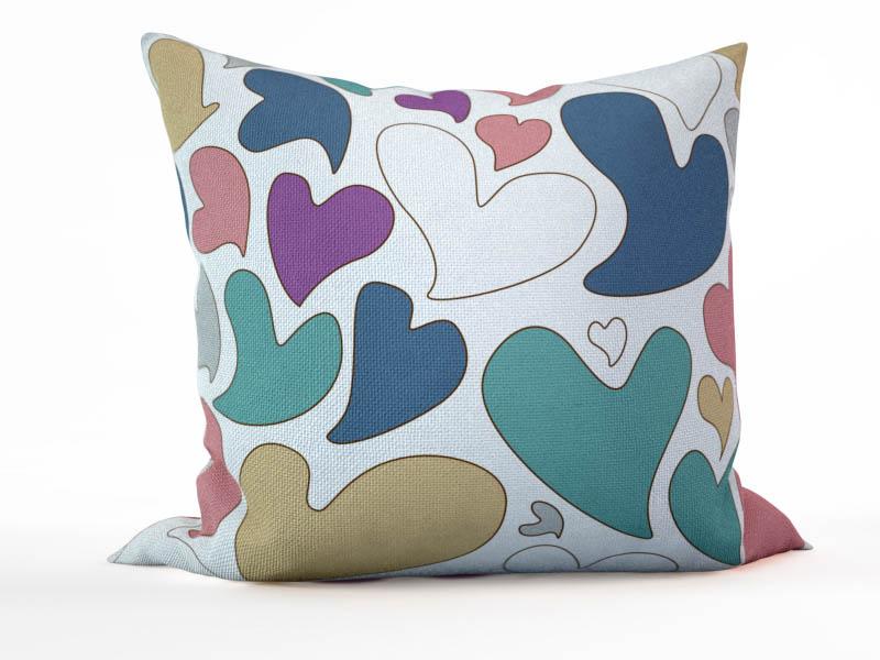 Декоративные подушки StickButik Декоративная подушка Цветные Сердца (45х45)