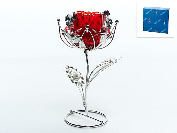 {} ENS GROUP Подсвечник Красный Цветок (10х14х18 см) ens group подсвечник красный цветок 9х9х14 см