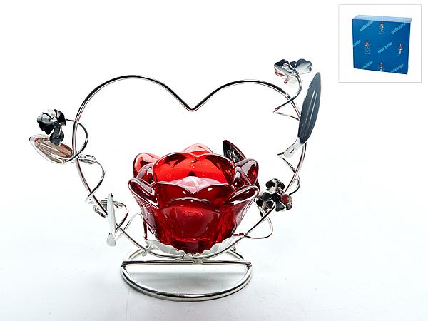 {} ENS GROUP Подсвечник Красный Цветок (9х12х16 см) ens group подсвечник красный цветок 9х9х14 см