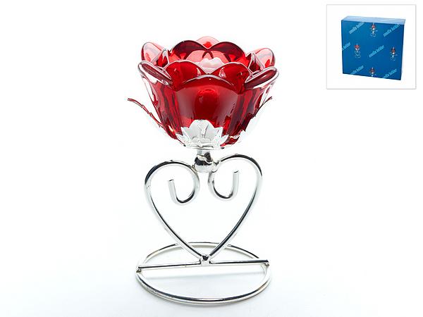 {} ENS GROUP Подсвечник Красный Цветок (8х8х13 см) подставка под ложку ens group чайная роза
