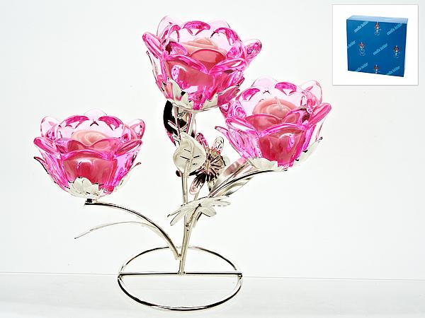 {} ENS GROUP Подсвечник Розовый Цветок (9х19х20 см) маска карнавальная для вечеринки ens 19 9 см