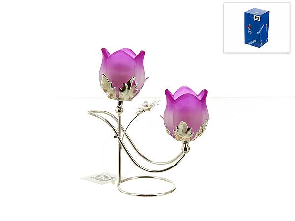 {} ENS GROUP Подсвечник Сиреневый Цветок (8х16х18 см) подставка под ложку ens group лето в европе
