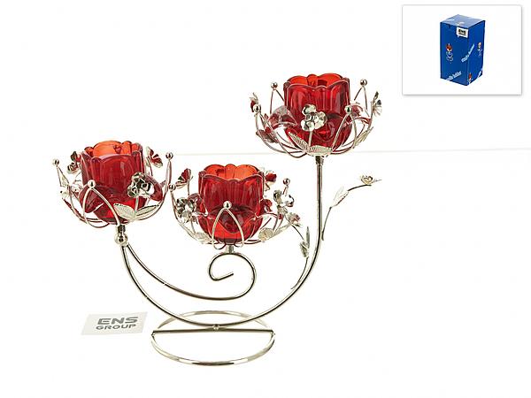 {} ENS GROUP Подсвечник Красный Цветок (10х22х25 см) ens group подсвечник красный цветок 9х9х14 см