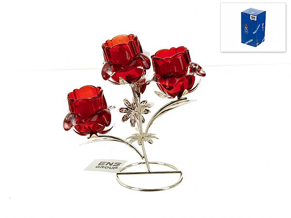 {} ENS GROUP Подсвечник Красный Цветок (9х18х20 см) ens group подсвечник красный цветок 9х9х14 см