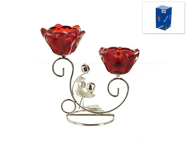 {} ENS GROUP Подсвечник Красный Цветок (9х17х18 см) ens group подсвечник красный цветок 9х9х14 см