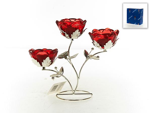{} ENS GROUP Подсвечник Красный Цветок (10х21х24 см) ens group подсвечник красный цветок 9х9х14 см