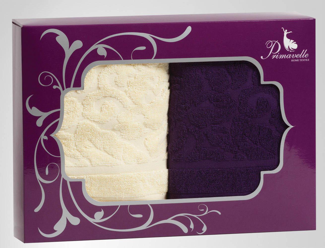 Полотенца Primavelle Полотенце Fiona Цвет: Фиолетовый+Ваниль (50х90 см - 2 шт) цена и фото