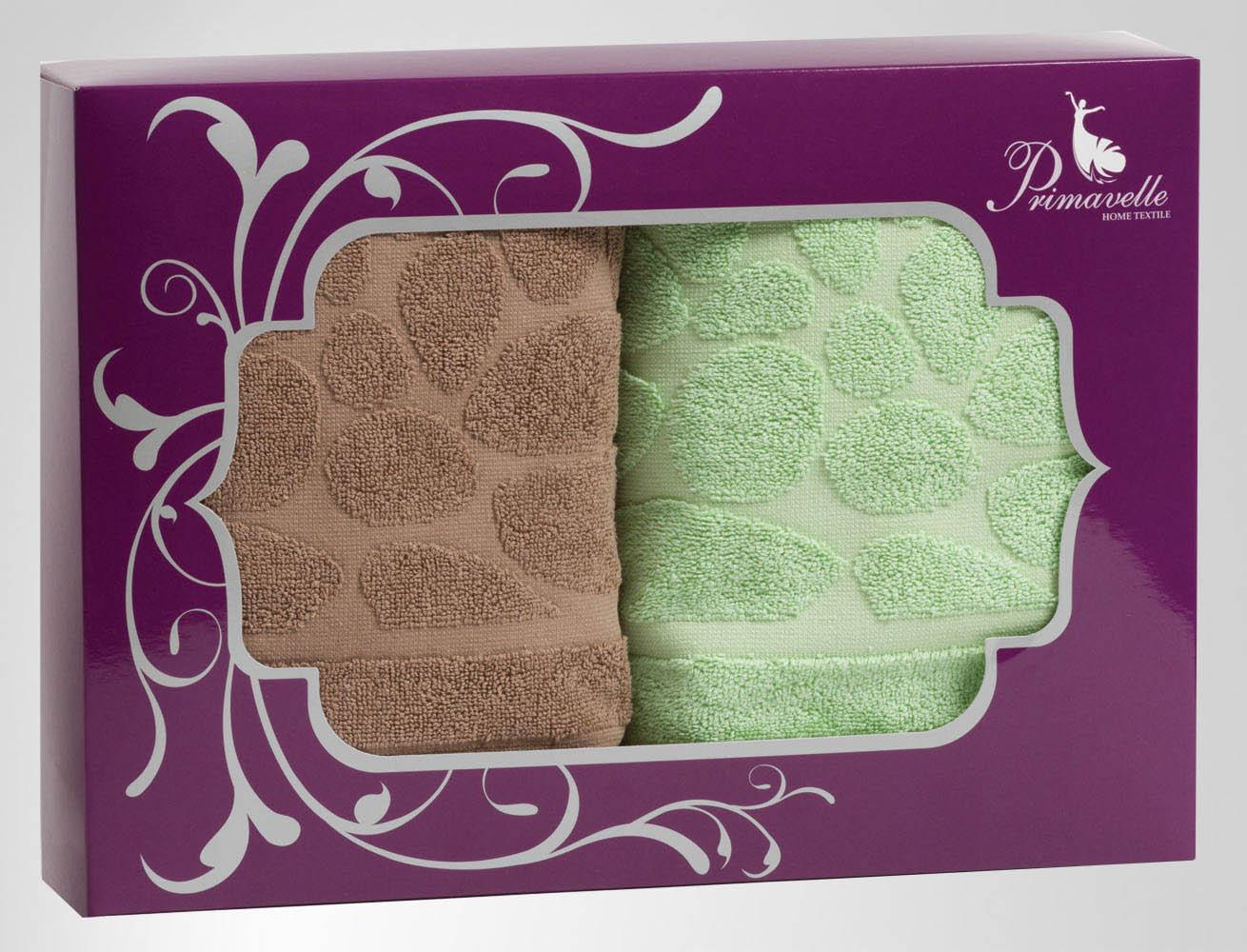 Полотенца Primavelle Полотенце Piera Цвет: Коричневый+Зеленый (50х90 см - 2 шт) цена и фото