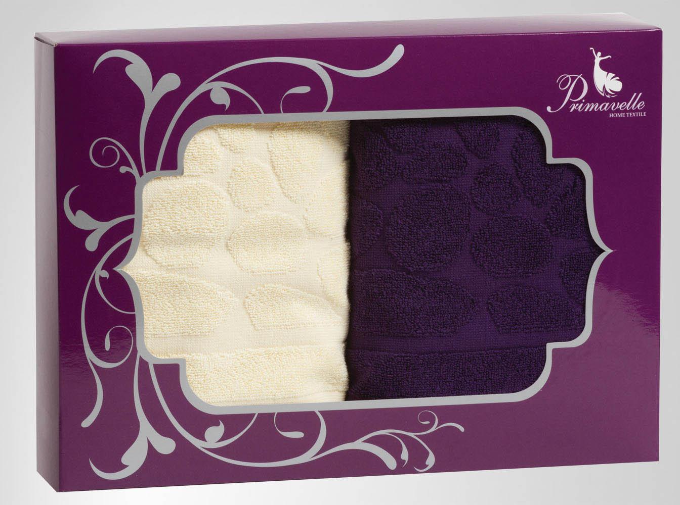 Полотенца Primavelle Полотенце Piera Цвет: Фиолетовый+Ваниль (50х90 см - 2 шт) цена и фото