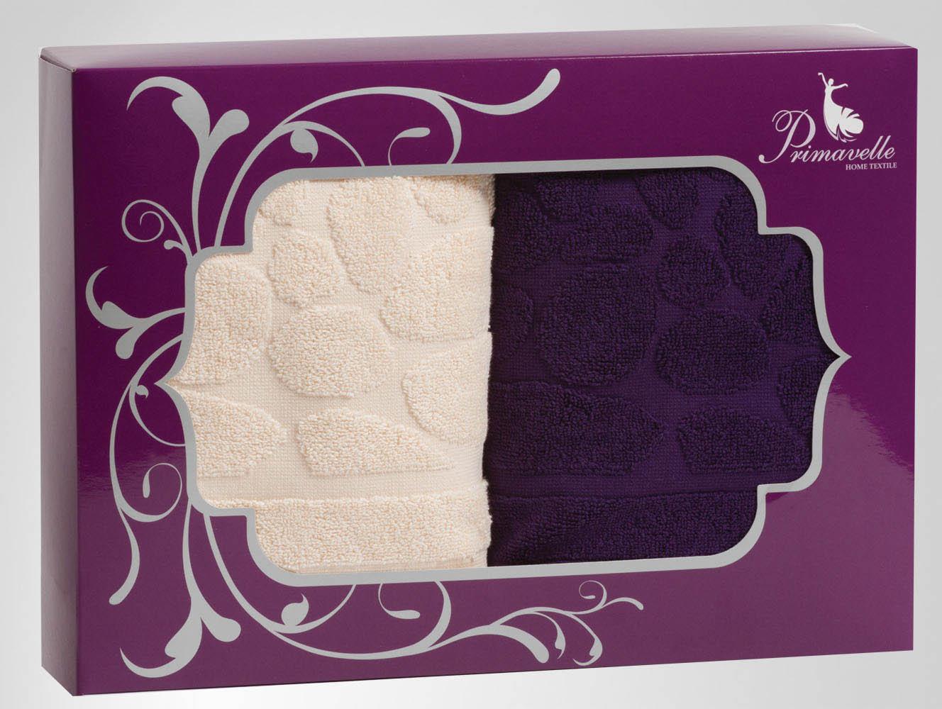 Полотенца Primavelle Полотенце Piera Цвет: Фиолетовый+Бежевый (50х90 см - 2 шт) цена и фото