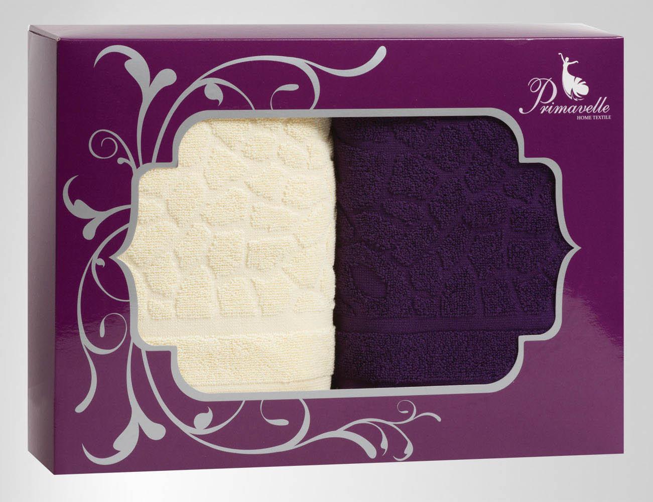 Полотенца Primavelle Полотенце Vitra Цвет: Фиолетовый+Ваниль (50х90 см - 2 шт) цена и фото