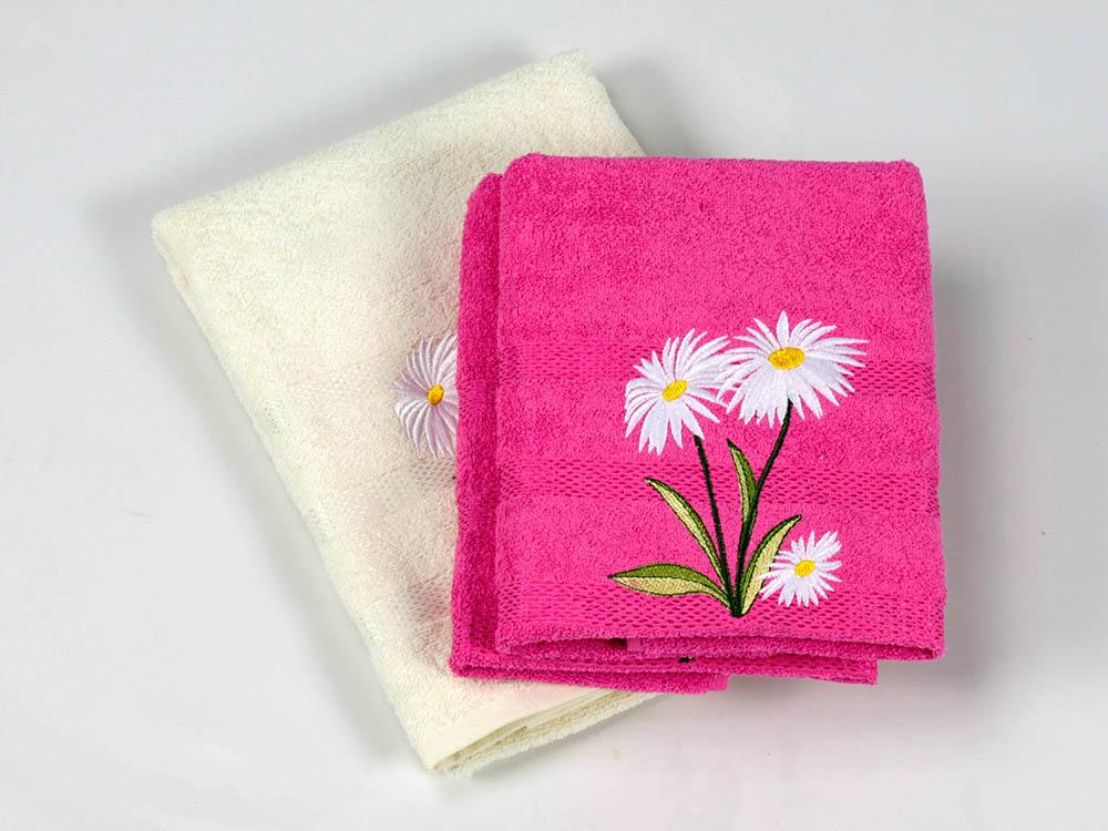 где купить Полотенца Cottonist Полотенце Ромашка Цвет: Кремовый,Фуксия (Набор) по лучшей цене