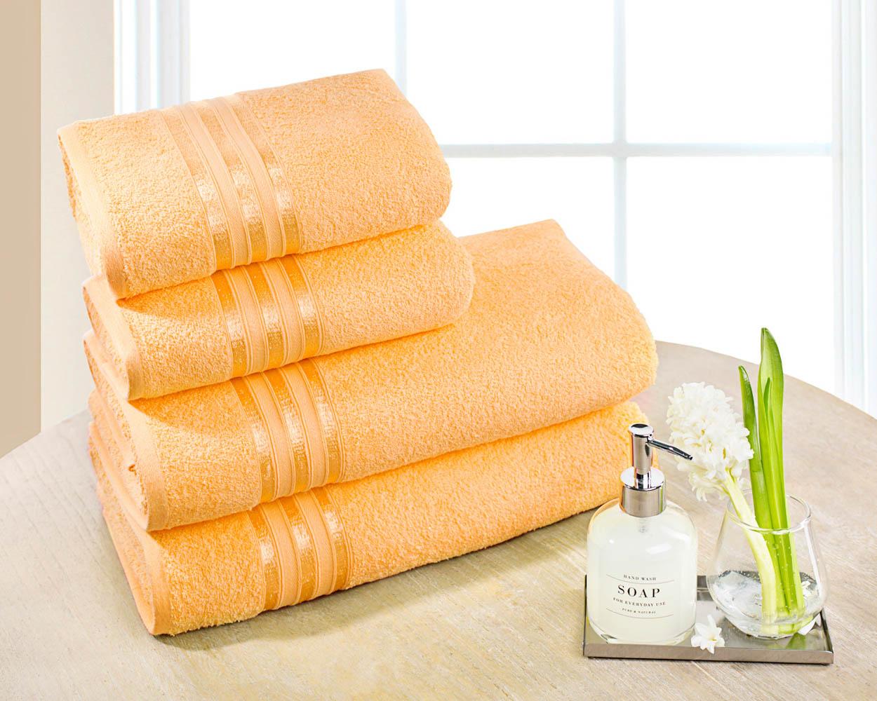 Полотенца Dome Набор из 4 полотенец Harmonika Цвет: Абрикосовый полотенца кухонные la pastel набор полотенец 4 предмета из микрофибры 30х30