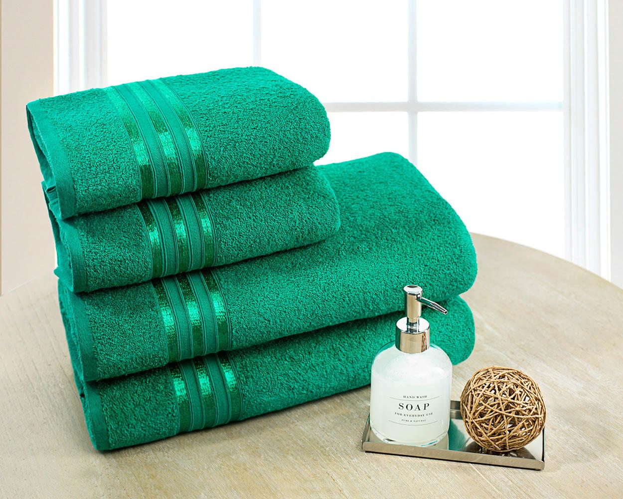 Полотенца Dome Набор из 4 полотенец Harmonika Цвет: Изумрудный полотенца кухонные la pastel набор полотенец 4 предмета из микрофибры 30х30