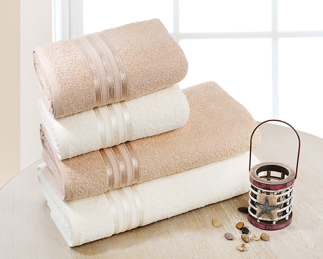 Полотенца Dome Набор из 4 полотенец Harmonika Цвет: Молочный/Бежевый полотенца кухонные la pastel набор полотенец 4 предмета из микрофибры 30х30