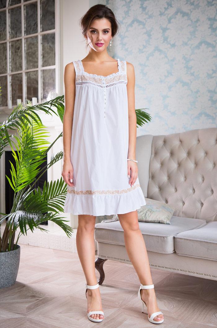Ночные сорочки Mia-Mia Ночная сорочка Helene Цвет: Белый С Золотом (S) сорочка и стринги soft line mia размер s m цвет белый