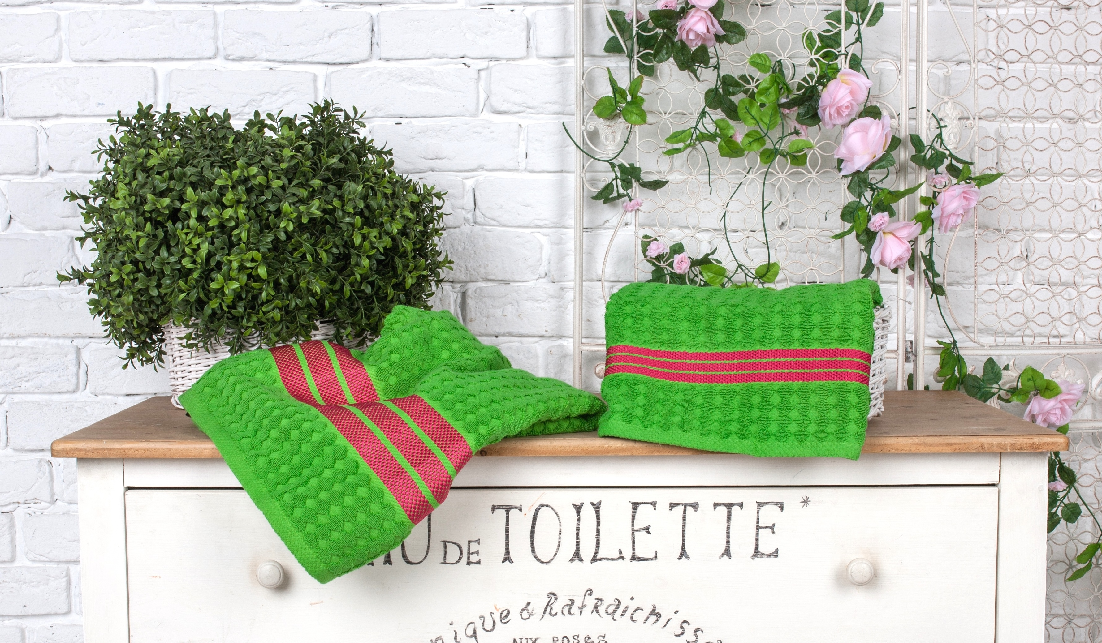 где купить Полотенца Toalla Полотенце Страйп Цвет: Зеленый (50х90 см) по лучшей цене