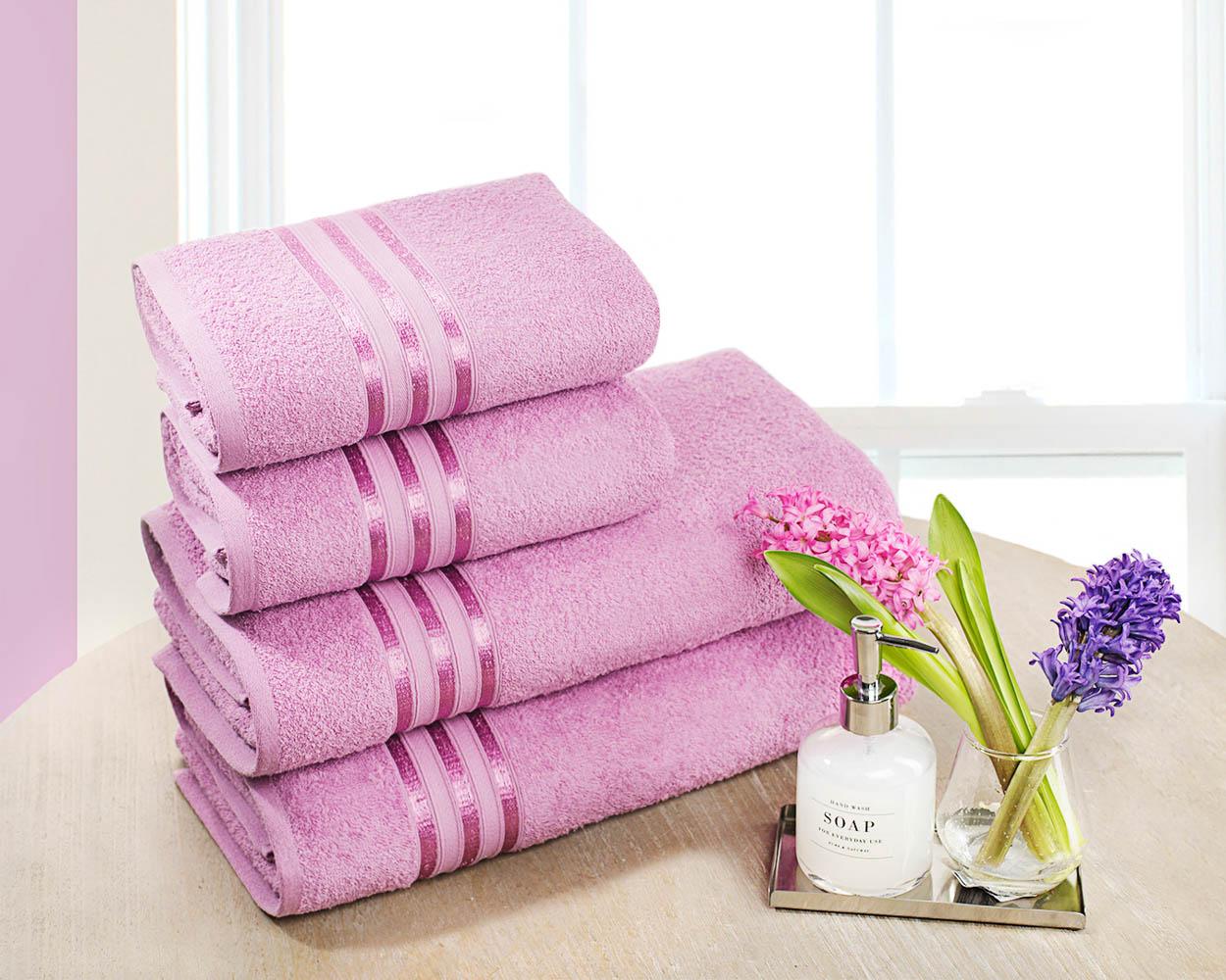 Полотенца Dome Набор из 4 полотенец Harmonika Цвет: Лиловый полотенца кухонные la pastel набор полотенец 4 предмета из микрофибры 30х30
