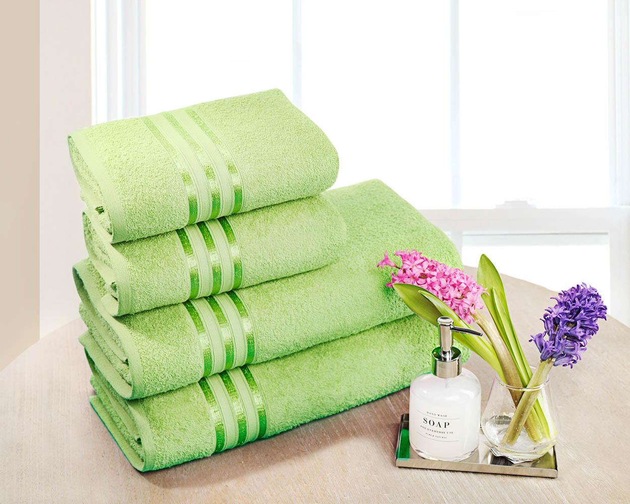 Полотенца Dome Набор из 4 полотенец Harmonika Цвет: Салатовый полотенца кухонные la pastel набор полотенец 4 предмета из микрофибры 30х30