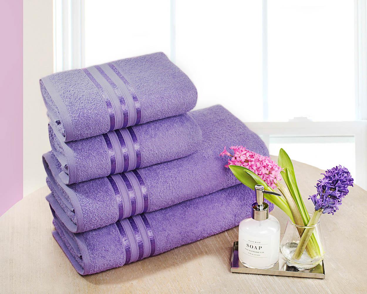 Полотенца Dome Набор из 4 полотенец Harmonika Цвет: Сиреневый полотенца кухонные la pastel набор полотенец 4 предмета из микрофибры 30х30