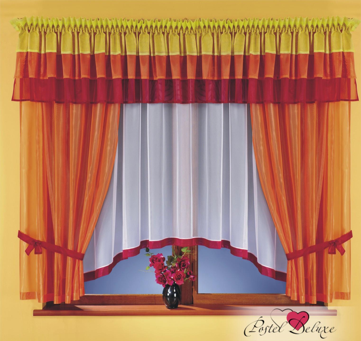 Шторы Wisan Шторы с ламбрекеном Цвет: Оранжевый комплект штор для кухни wisan celina на ленте цвет белый оранжевый высота 180 см