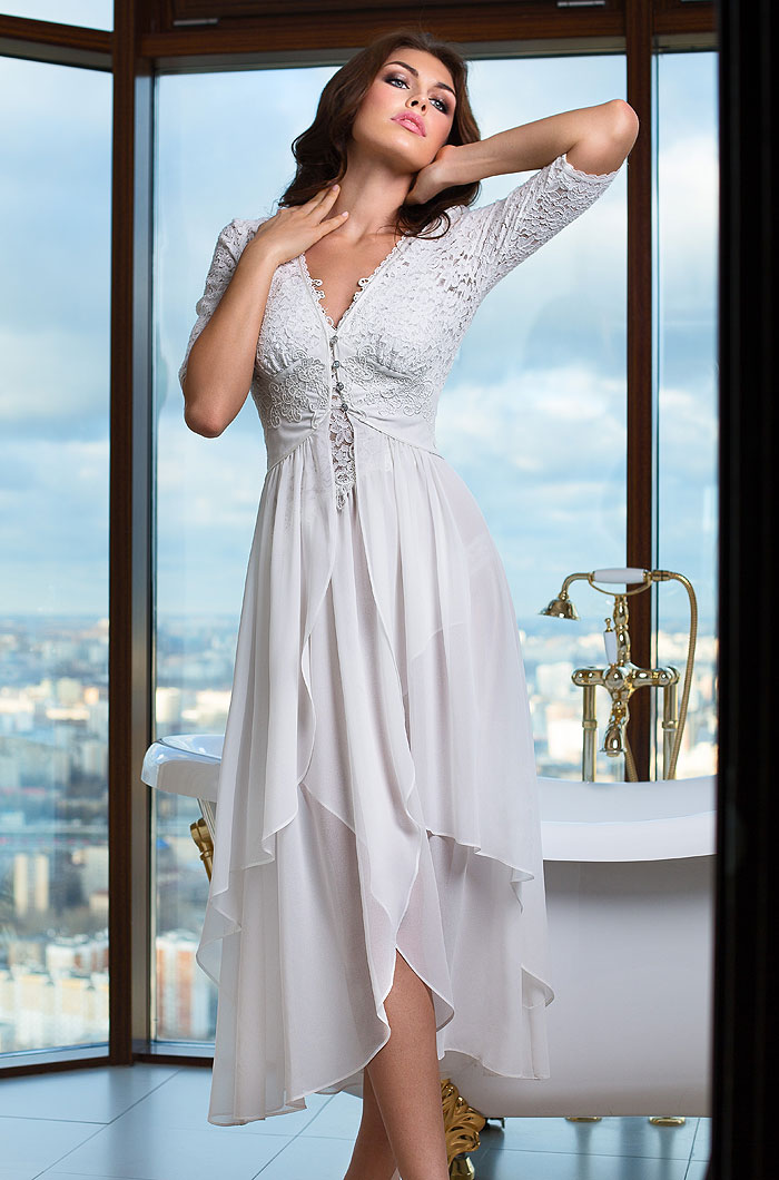 Домашние халаты Mia-Mia Домашний халат Venera Цвет: Белый (xL) домашние халаты mia mia домашний халат leona цвет синий xl