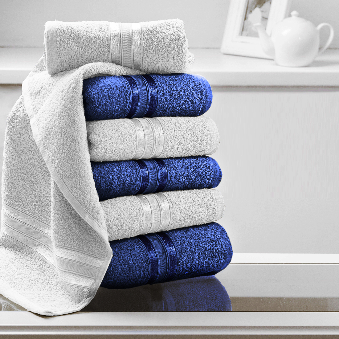 Полотенца Dome Полотенце Harmonika Цвет: Белый/Синий (33х50 см - 6 шт) полотенца dome полотенце для рук harmonika цвет оранжевый 33х50 см