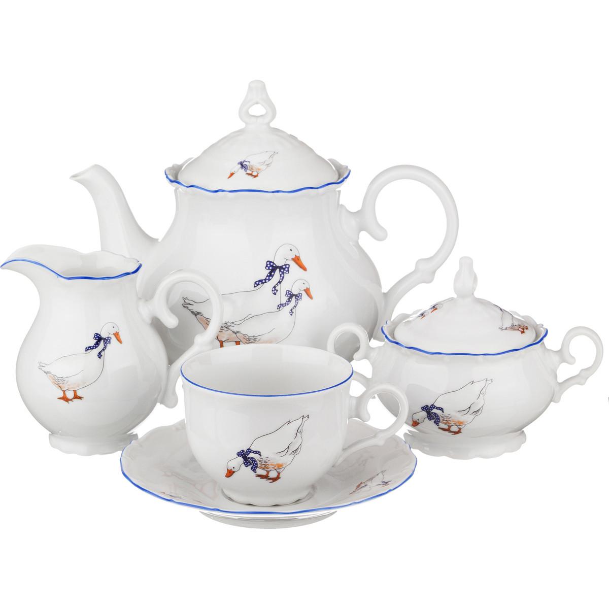 {} M.Z. Сервиз Albasto  (Набор) двойные голубые линии белый фарфор чайный сервиз чайный сервиз чайник чайный сервиз 6 шт