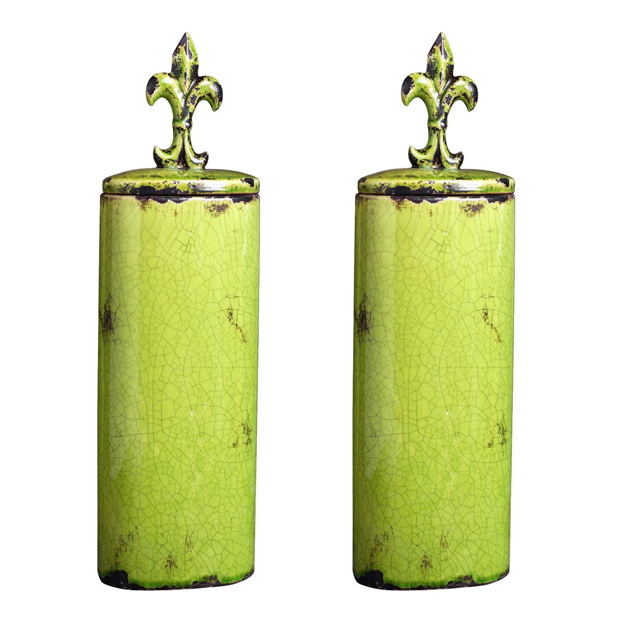 {} ARTEVALUCE Ваза с крышкой Orlenda Цвет: Зеленый (11х17х58 см - 2 шт) artevaluce ваза с крышкой orlenda цвет зеленый 11х17х51 см