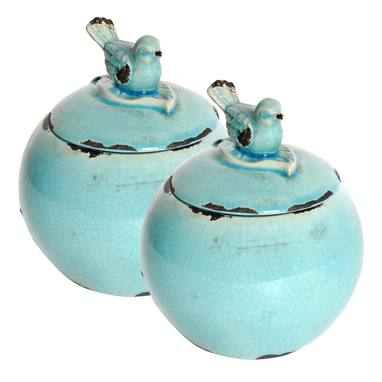 {} ARTEVALUCE Ваза с крышкой Птички Цвет: Голубой (15х18 см - 2 шт) artevaluce ваза arina цвет голубой 15х24 см