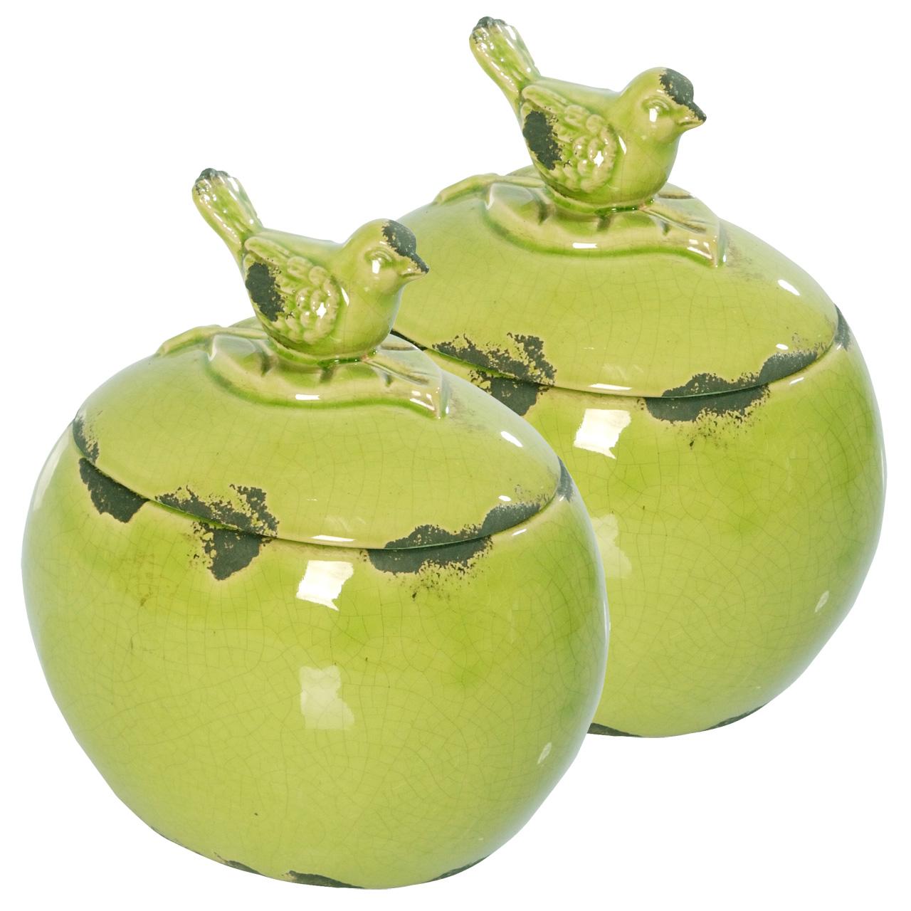 {} ARTEVALUCE Ваза с крышкой Птички Цвет: Зеленый (13х17х18 см - 2 шт) artevaluce ваза с крышкой orlenda цвет зеленый 11х17х51 см