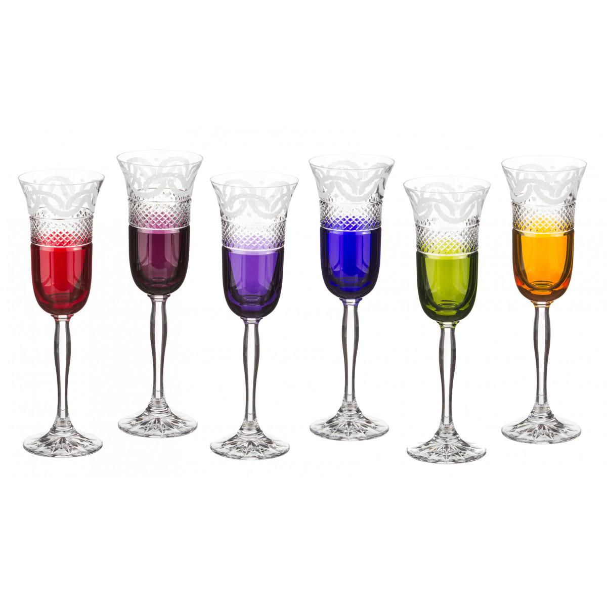 {} Julia Crystal Набор бокалов для шампанского Rae  (150 мл - 6 шт) набор бокалов crystalex ангела оптика отводка зол 6шт 400мл бренди стекло