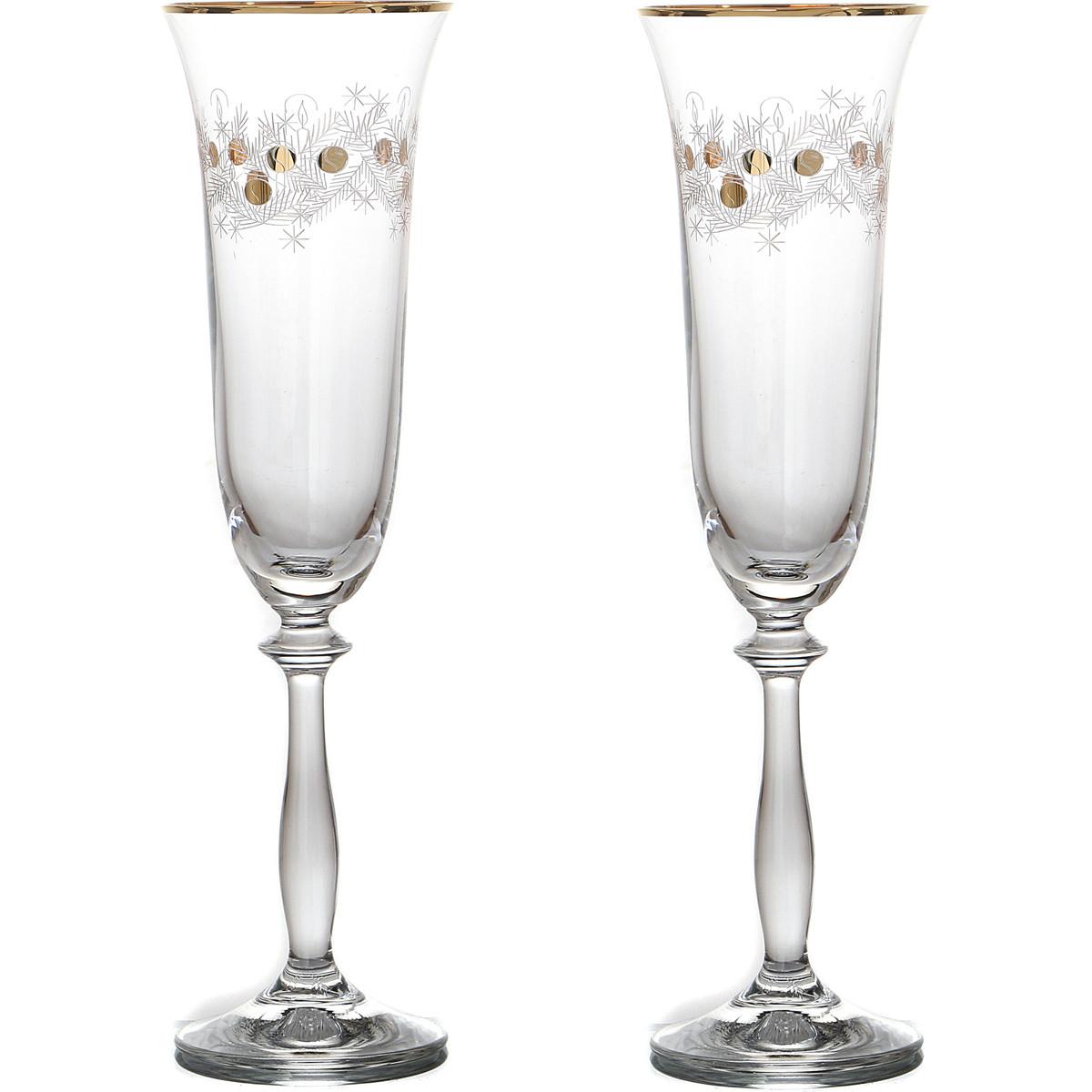 {} Bohemia Crystal Набор бокалов для шампанского Alivia  (25 см - 2 шт) crystal bohemia