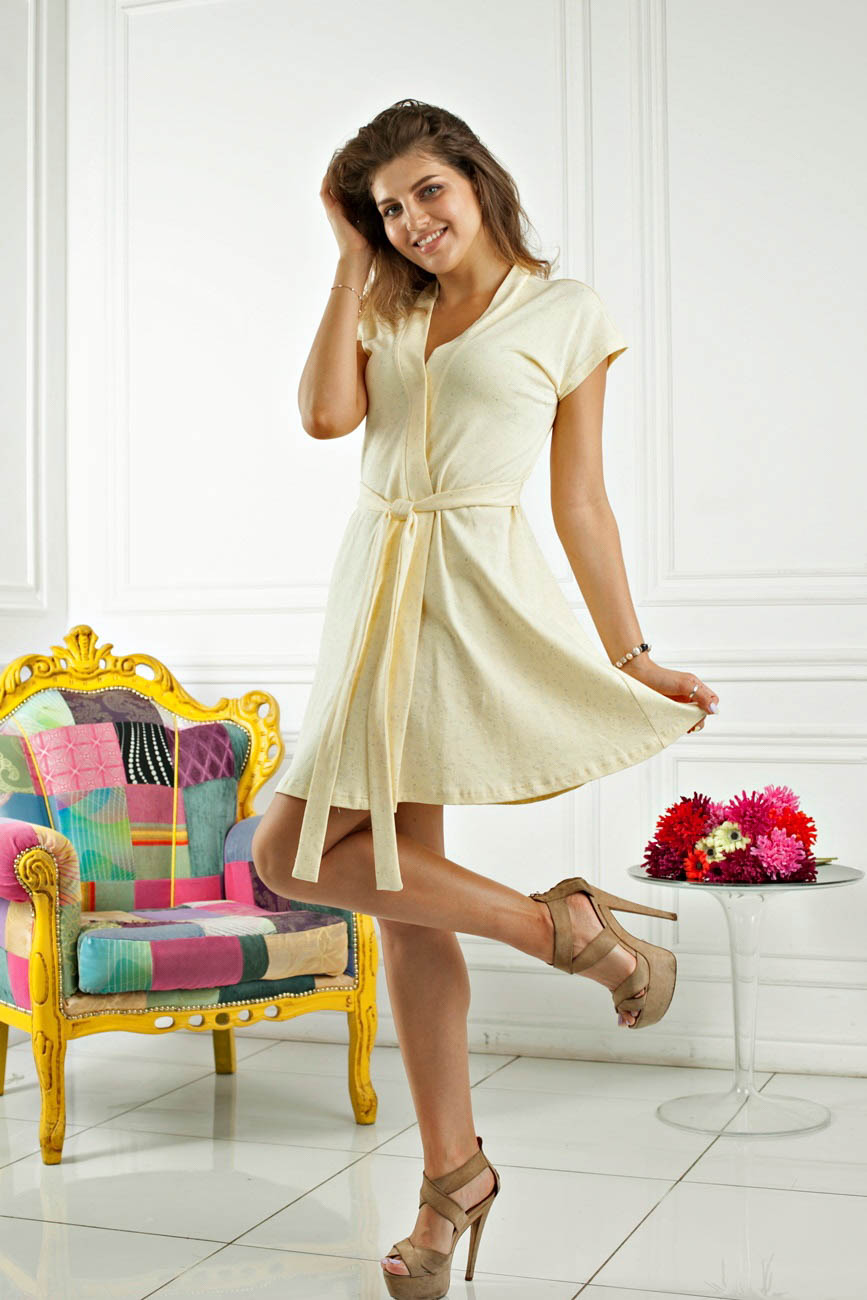 Домашние халаты Five Wien Домашний халат Sweet Цвет: Лимонный (M) домашние халаты mia mia домашний халат yesenia xl
