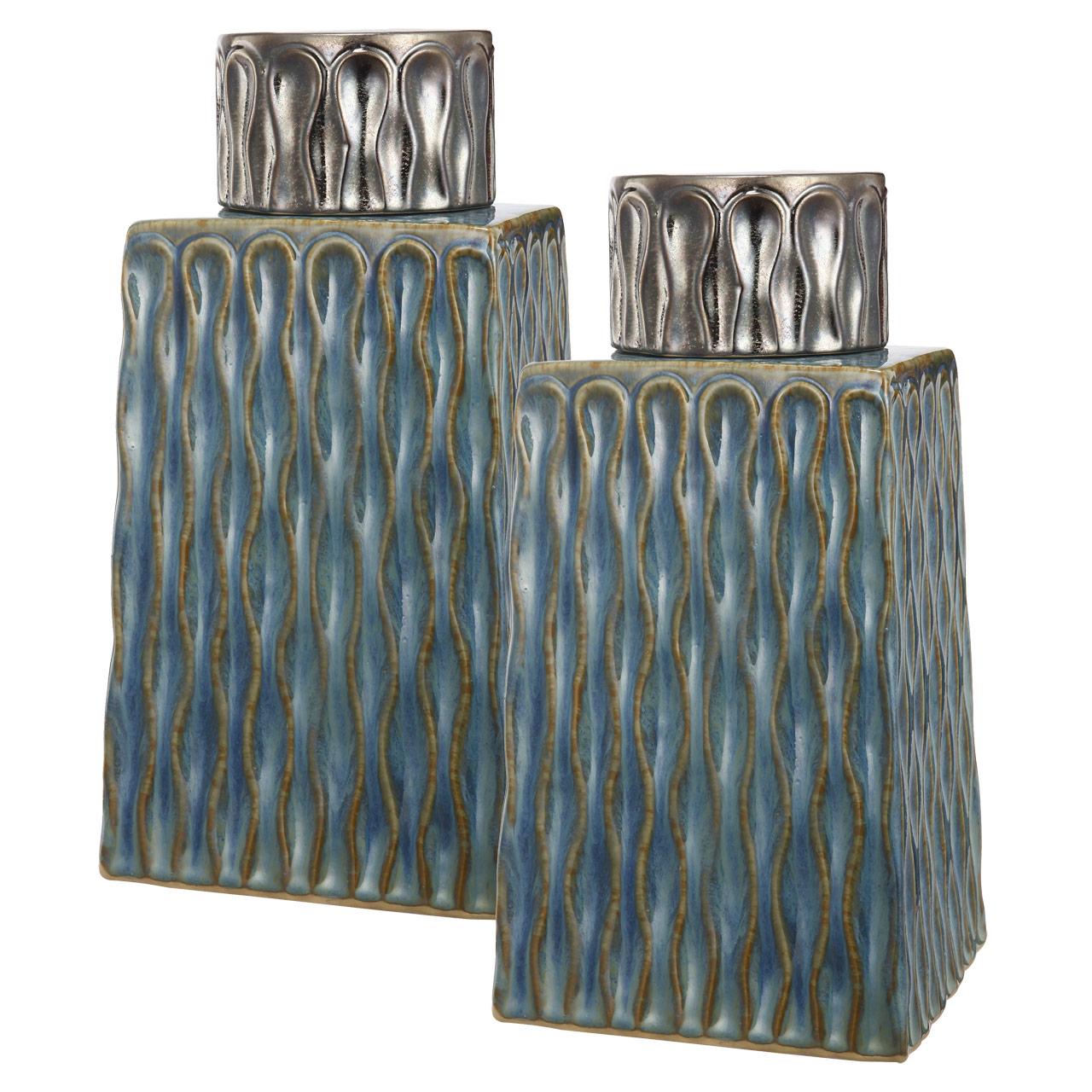 {} ARTEVALUCE Ваза с крышкой Xylia (14х16х31 см - 2 шт) artevaluce ваза с крышкой orlenda цвет зеленый 11х17х51 см