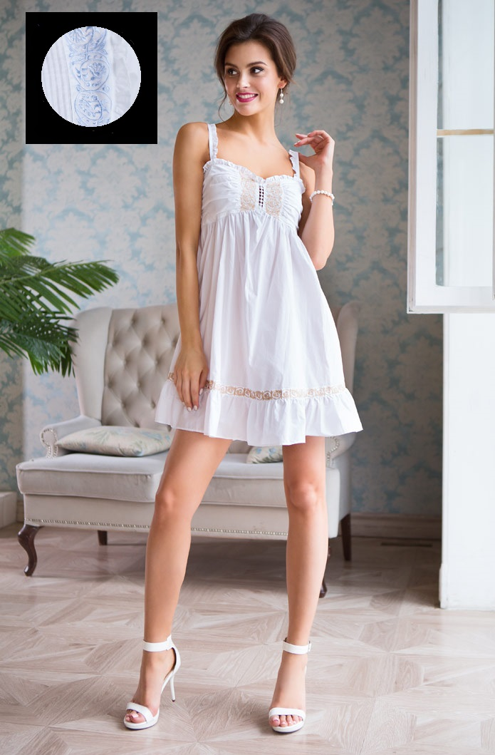 Ночные сорочки Mia-Mia Ночная сорочка Helene Цвет: Белый С Голубым (xS) сорочка ночная мамин дом мамин дом ma168ewvgv34