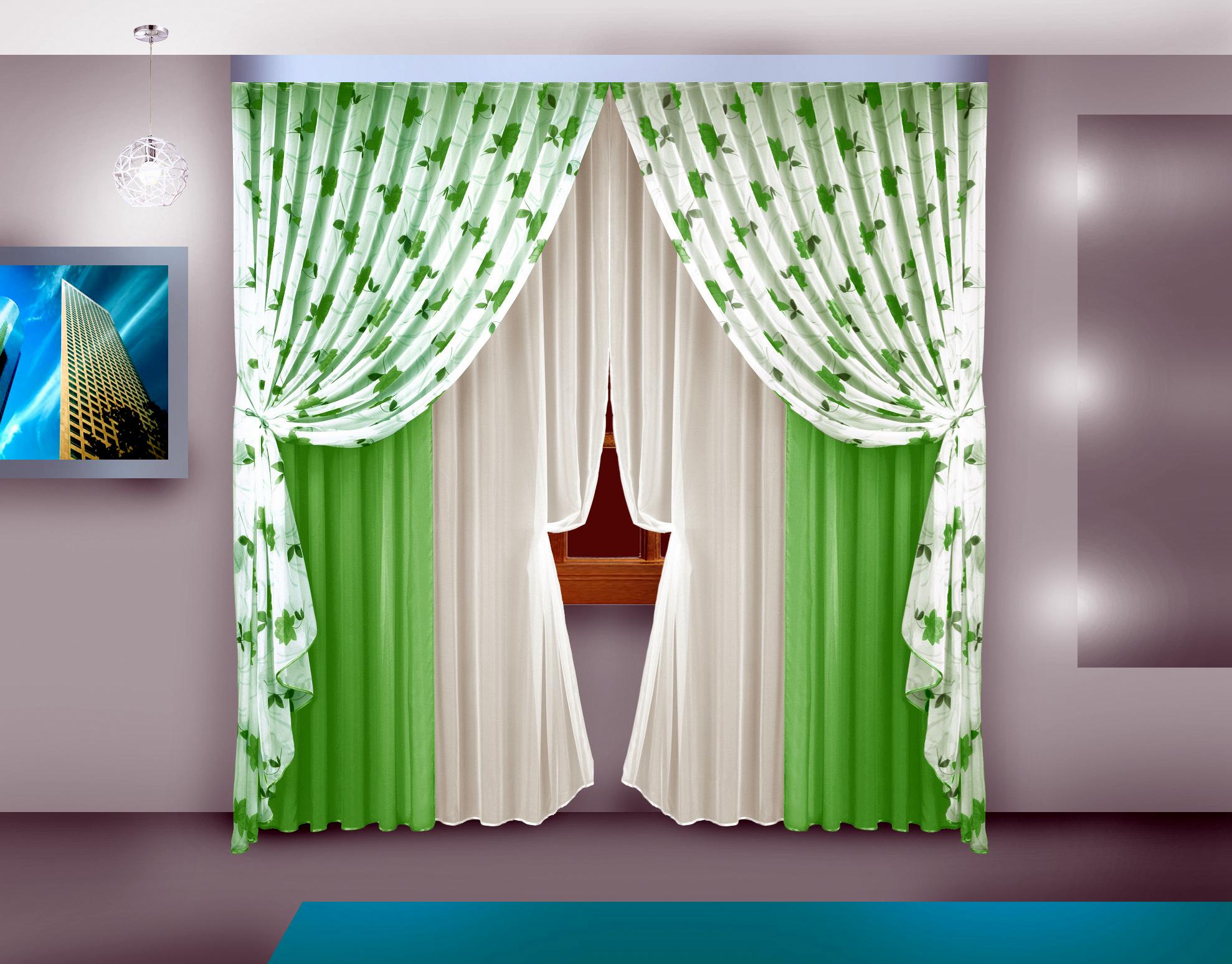 Шторы Elegante Классические шторы Adaline Цвет: Зеленый шторы tac классические шторы winx цвет персиковый 200x265 см