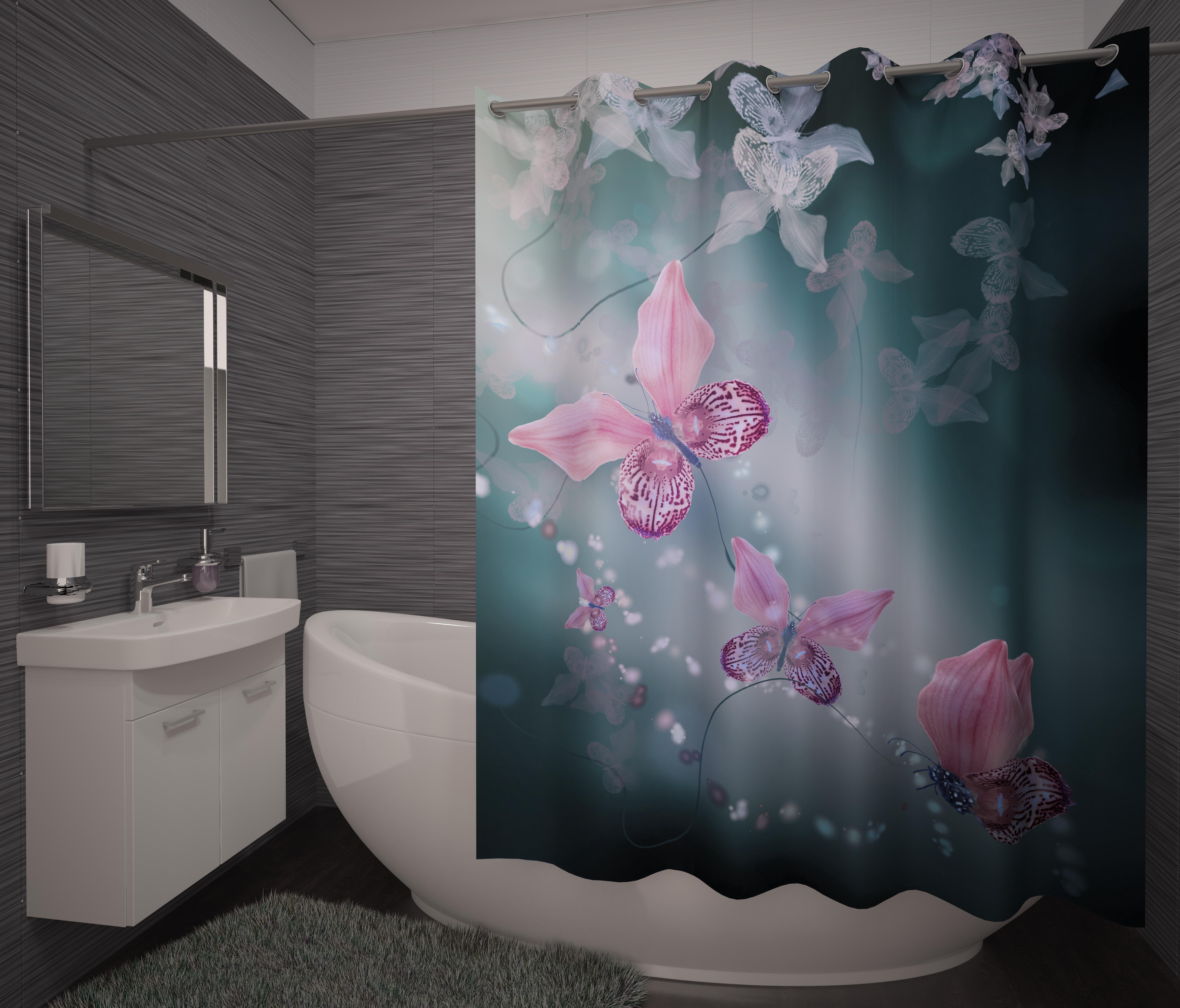 Шторы и карнизы для ванной Fototende Фотошторы для ванной Rawson карнизы