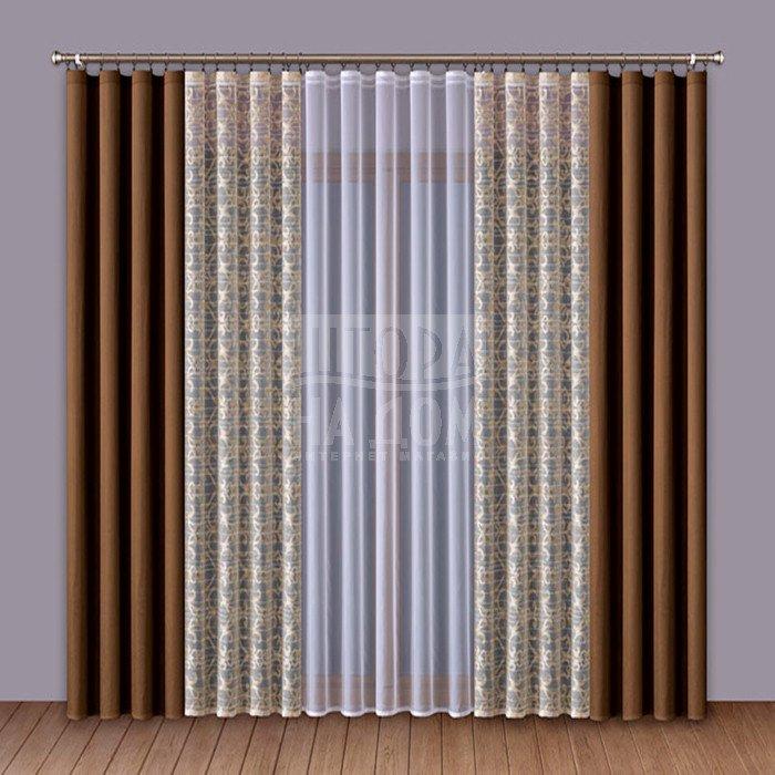 Шторы Wisan Классические шторы Amey Цвет: Коричневый шторы tac классические шторы winx цвет персиковый 200x265 см