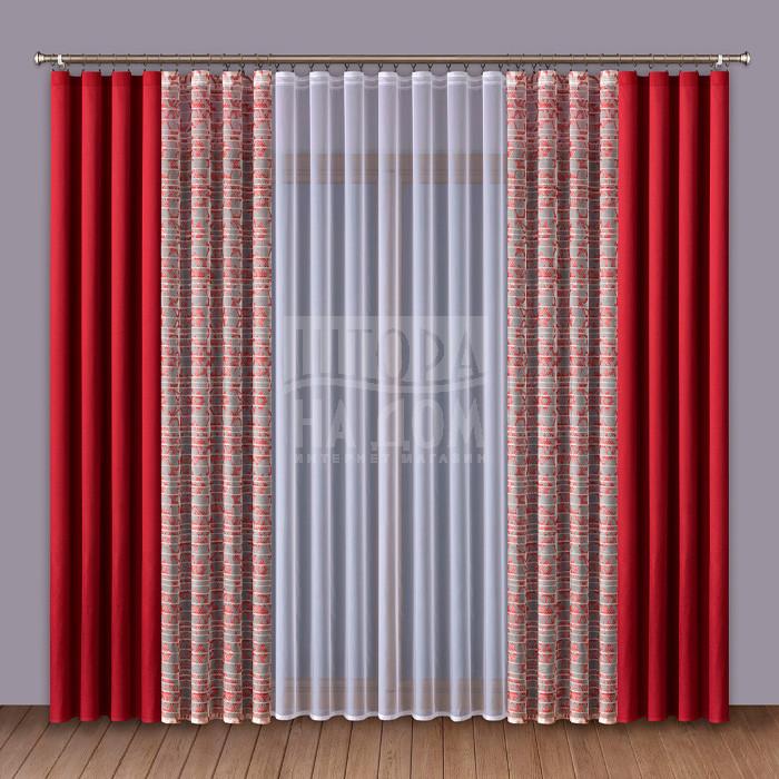 Шторы Wisan Классические шторы Amey Цвет: Красный шторы kauffort классические шторы barolo