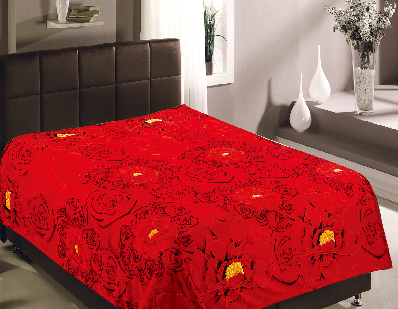 Плед TexRepublic Плед Розы Цвет: Красный (180х220 см)